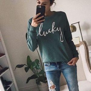 Tops - Hunter green 'lucky' sweatshirt - small   - NEW